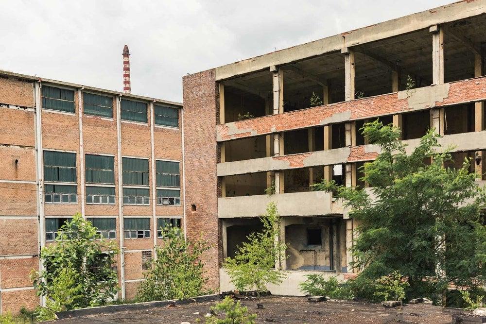 huge abandoned factory communist Poland