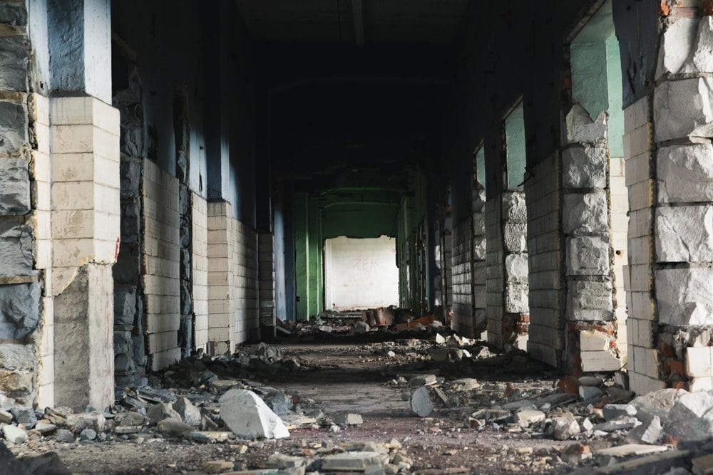 scene from post apocalyptic hallway